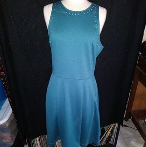 Blue simple skater dress